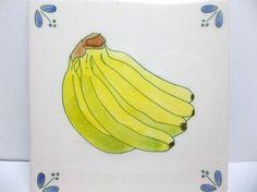 "Vintage Hand Painted DEMUTH Art Tile BANANAS  6"" NAPA California #Demuth"