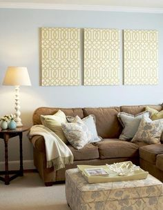Canvas covered in fabric - easy wall art!