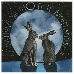 Pagan/spiritual and fairy/fantasy greeting cards, prints and gifts at Moondragon - Hase Sam Cannon, Bunny Art, Bunny Bunny, Blue Bunny, Rabbit Art, Easter Art, Moon Art, Moon Moon, Hippie Art