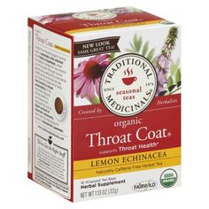 Mom always gives me this with raw organic honey when I'm sick and it works. Traditional Medicinals Organic Echinacea Plus Herbal Tea 16 ct Product Label, Kraut, Healthy Drinks, Healthy Tips, Herbalism, Lemon, Stress, Herbs, Organic