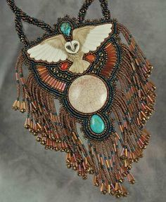 Beaded necklace by Sue Horine, made using Native American techniques