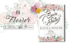 Flower Wedding Invitation by Tiaga on @creativemarket