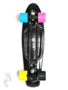 Introducing this special CMYK combination edition of our retro skateboard. A black deck and trucks setup with a wheel for each of the CMYK colours. Cop or not? | twobarefeet.co.uk