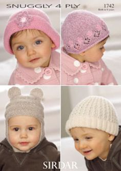 Sirdar Snuggly 4 ply Baby & Child's Hats 1742