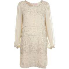 Cream Embellished Shift Dress ($65) ❤ liked on Polyvore
