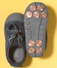 Gluing pennies is a way to improvise tap dancing shoes. | 33 Genius Hacks Guaranteed To Make A Parent's Job Easier