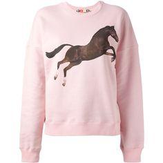 MSGM X TOILET PAPER horse print sweatshirt ($262) found on Polyvore