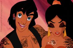 Disney Punk Aladdin und Jasmine by LeniBebiii on DeviantArt Punk Disney Characters, Disney Punk, Punk Disney Princesses, Dark Disney, Disney Princess Art, Punk Princess, Disney Fan Art, Disney Movies, Disney Pixar