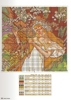 "Borduurpatroon Kruissteek Mucha *Embroidery Cross Stitch Pattern ~""Wiosna""? 2/3~"