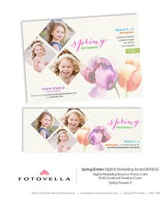Spring Mini Session Marketing Kit - Marketing Board and Facebook Cover - 1245  - Photoshop Templates for Photographers