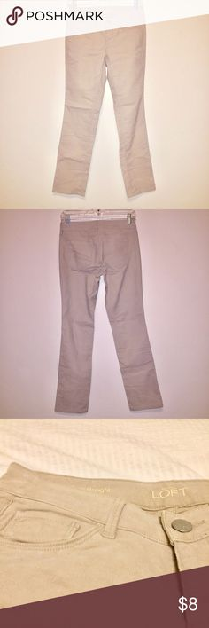 LOFT Corduroy Pants Modern Straight Never worn. Sits lower on waist. Fitted through hip and thigh. Straight leg. Light orange stain on inner right thigh somehow during storage, not super noticeable during everyday wear, may be washed out with some spot cleaner/concentrated detergent. I'm happy to answer any questions and accept all reasonable all reasonable offers. From a smoke and pet free home. LOFT Pants Straight Leg