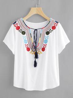 #MakeMeChic - #MAKEMECHIC Tasseled Tie Embroidered Plunge Neck Tee - AdoreWe.com