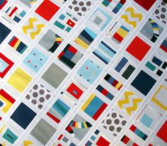 """This is what Rita Hodge at Red Pepper Quilts is doing with the new Kaufman line called """"Kona Modern Quilts.""""  I love this, love the colors and bold graphic style of the fabric."""