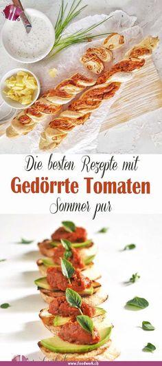 So einfach und so aromatisch. Gedörrte Tomaten gehören für uns zum Sommer dazu. Ob als Snack, Brot, Tatar oder mit Garnelen und Pasta, sie sind so vielseitig einsetzbar. Wir haben dir eine Rezept Sammlung zusammengestellt, mit unseren besten Rezepten mit getrockneten Tomaten. Wie du diese ganz einfach selber herstellen kannst und für was du sie brauchen kannst. Good Food, Yummy Food, Pasta, Snacks, Let Them Talk, Different Recipes, Brown Sugar, Bbq, Cooking Recipes