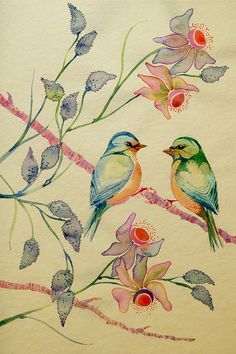 Colleen Parker, wildlife ink and paints-maybe something like this for my bird themed way in the future nursery