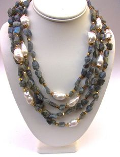 Labradorite & Baroque Pearl Necklace 4 Strand by RenaissanceFair