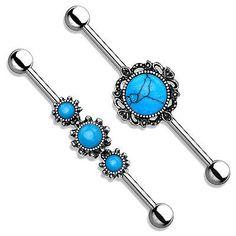 TURQUOISE ORGANIC STONE INDUSTRIAL BARBELL BAR SCAFFOLD EAR PIERCING STEEL in Jewellery & Watches, Body Jewellery, Body Piercing Jewellery | eBay
