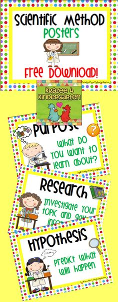 "Free (and really cute!!) Scientific Method Posters.....Follow for Free ""too-neat-not-to-keep"" teaching tools & other fun stuff :)"