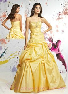 Yellow Taffeta Ball Gown Strapless 2011 Prom Dresses