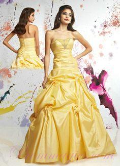 Yellow Taffeta Ball Gown Strapless 2011 Prom Dresses