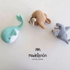 Sea amigurumi (shark, whale, walrus) crochet pattern                                                                                                                                                                                 More