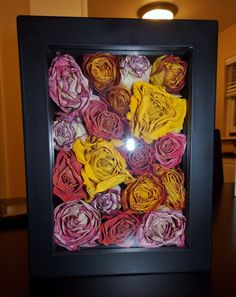 Dried flowers & put them in a shadow box, super easy! Wanted to practice first before I tried w/ my wedding bouquet...