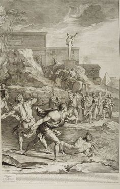 ❤ -  The Saving of the Infant Pyrrhus (right half), c. 1674. Gérard Audran. After Nicolas Poussin.