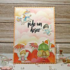 Lebílulas de colores.: Tarjeta infantil: Polychromos+Distress