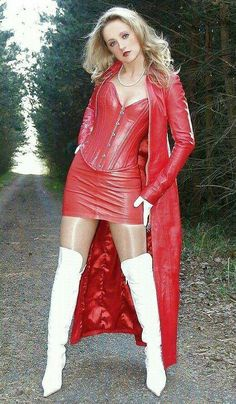 Just sexy boots: Red and white White Boots, Sexy Boots, Looks Country, Lady Ann, Long Leather Coat, Frauen In High Heels, Leder Outfits, Hot High Heels, Leather Dresses