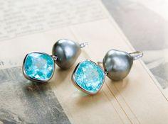 Earrings With Paraíba Tourmalines And Tahiti Keshi Pearls