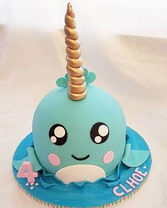Narwhal Birthday Cake - - An interesting post from POPSUGAR. Check it out! Toddler Birthday Cakes, Animal Birthday Cakes, Whale Birthday, Make Birthday Cake, Colorful Birthday Cake, Homemade Birthday Cakes, Mermaid Birthday, Birthday Ideas, Popsugar
