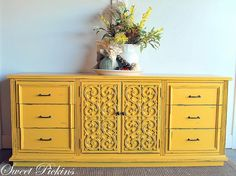 Bright yellow furniture crafts-home-and-diy Redo Furniture, Bright Painted Furniture, Indoor Furniture, Refinishing Furniture, Yellow Cabinets, Repurposed Furniture, Yellow Furniture, Furniture Inspiration, Furniture Makeover