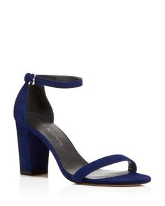 STUART WEITZMAN Nearlynude Ankle Strap Block Heel Sandals. #stuartweitzman #shoes #sandals