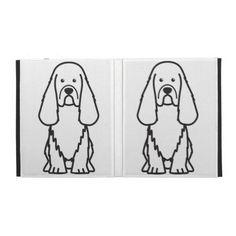 Sussex Spaniel Dog Cartoon iPad Folio Cases