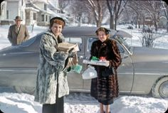 """""""Bill, Emily & E.S. - Dec 25 1951."""" It's beginning to look a lot like Christmas in this latest episode of Minnesota Kodachromes. Photo by Hubert Tuttle. Full size."""