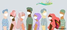 A group of people of the same sex and nationalities wearing medical masks to prevent flu, polluted air, pollution of the world. Isolated stock vector illustration in a flat style on a blue background<br> Flu Prevention, Plant Fibres, Flat Style, Air Pollution, First Nations, Blue Backgrounds, Painting On Wood, Kylie Jenner, Masks