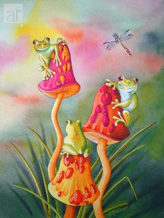 Whimsical Frogs Fine Art Giclee Photographic Print at Artist Rising. Artist Rising is the premier destination for discovering original art, fine art and photography prints, and limited edition art by living artists. Art And Illustration, Illustrations, Mushroom Paint, Mushroom Drawing, Funny Frogs, Cute Frogs, Frog Drawing, Frog Tattoos, Frog Pictures