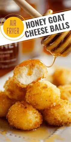 Airfryer Honey Goat Cheese Balls are a simple 5 ingredient recipe filled with creamy goat cheese and drizzled in honey for a decadent appetizer perfect for any holiday party! List Of Appetizers, Best Appetizer Recipes, Quick And Easy Appetizers, Yummy Appetizers, Fry Baby, Fried Goat Cheese, Types Of Desserts, 5 Ingredient Recipes, Party Food And Drinks