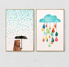 ALMUDENA Minimalist Nordic Umbrella Cubs Rain Raindrops Cartoon Canvas Painting Children's Room Decorative Poster Unframed-in Painting & Calligraphy from Home & Garden on Aliexpress.com | Alibaba Group