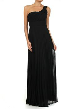 Light Black Solid Pleated One Shoulder Full Length Dress With Fabric Knot Detail
