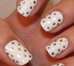 White nail polish with silver or gold sharpie