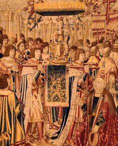 ND du Sablon, tapisserie 1516 - Quatrième tapisserie 3,41m x 5,28m La statue de la Vierge est accueillie à Bruxelles par les diverses personnalités.