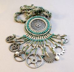 Steampunk Teal and Antique Silver Beadwoven Necklace by beadn4fun, $67.00