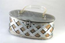 Vintage 1950's Art-Flex Lucite Purse Gold & Silver Basket Weave