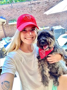Wearing a new lifestyle brand red hat with my pup, Maddie, in her new dog bandana! No Worries hats come in many colors + dog bandanas come in many colors to match! Match Me, Red Hats, Dog Bandana, Bandanas, No Worries, Cool Girl, I Am Awesome, Pup, Lifestyle
