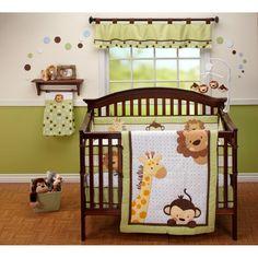 Jungle bedding set with lion, giraffe and monkey design
