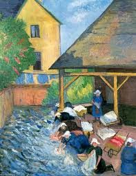 Le Lavoir, St Nicholas-du-Pelem, Brittany, France Stanislawa De Karlowska Date painted: See it at: Worthing Museum and Art Gallery Nottingham Castle, Spa Art, University Of Warwick, Glasgow Museum, Lincoln Cathedral, National Railway Museum, People Figures, France Art, Saint Nicholas