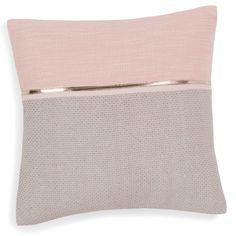 Funda de cojín de algodón rosa/gris 40 x 40 cm ALANNA