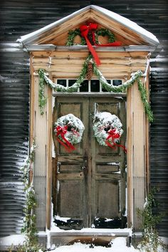 Rustic Door Doorway Colonial Christmas Snow Snowy Wreath Red Bow Holidays New England Natural Wood Vintage Feel, 8 x 12 Fine Art Print. $25.00, via Etsy.