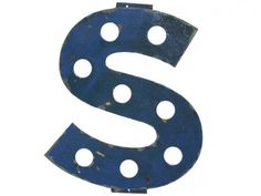Vintage Painted Metal French Marquee Sign Letter Capital S - Relique